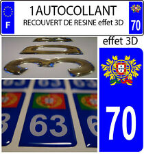 1 sticker plaque immatriculation auto TUNING 3D RESINE  BLASON PORTUGAL DEPA 70