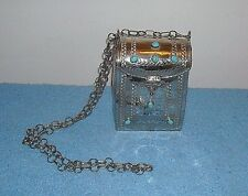 VINTAGE HARD HANDBAG SILVER METAL WITH TURQUOISE STONES