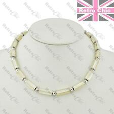 "MOP SHELL BEADS silver tone COLLAR NECKLACE 17""short mother of pearl choker"