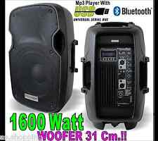 COPPIA 2 CASSE AUDIO BLUETOOTH  AMPLIFICATE 1600 WATT DJ KARAOKE USB WOOFER 31CM