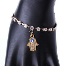 Fashion Gold Hamsa Bracelet - Hand Fatima Evil Eye Khamsa Bangle Amulet Charm