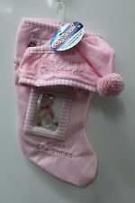 BABY GIRL'S HAT & PHOTO CHRISTMAS STOCKING SET Baby's First Holiday Picture Pink