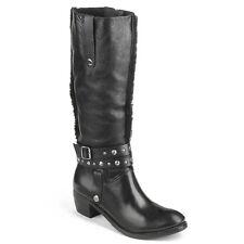 Buffalo Damen gefütterte Biker Boots Leder schwarz 39 Neu 1003 W 02 H15758