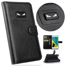Angry eyes Litchi Leather wallet flip stand pouch Cover Case For BlackBerry