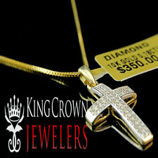 10K Solid Yellow Gold Genuine Diamond Mini Cross Pendant Charm Chain Set