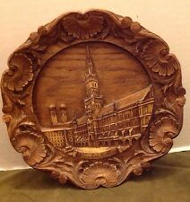 Vintage Wooden Resin Carved Wall Plate-Munchen Rathaus