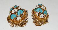 Vintage BOUCHER Enamel Peacock Earrings Signed White  Turquoise Clip On