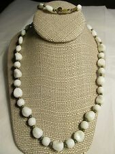 """VTG ART DECO MIRIAM HASKELL WHITE MOLAR TEETH GLASS BEADS NECKLACE SIGNED-28"""""""