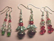 Christmas Tree & Santa Claus & Guardian Angel Fairy Earrings Unwanted Gift