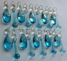 CHANDELIER ANTIQUE TEAL AQUA CRYSTALS GLASS CHRISTMAS TREE DECORATION BEAD DROPS
