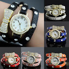Charm Women'S Crystal Bracelet Bow Leather Strap Chain Quartz Wrist Watch B59U