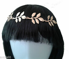 hairband in gold coloured metal leaf design headband style with back elastic new