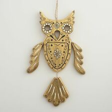 Gold Wood Owl by Cost Plus World Market,  Wall Hanging, Dia de los Muertos