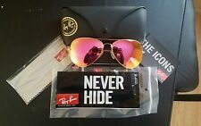 Ray Ban Cyclamen Pink Flash Aviator Sunglasses RB3025 58MM Lens Gold Frame EUC