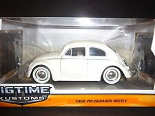Jada Volkswagen Beetle 1959 Matte White with Moon Wheel 1/24