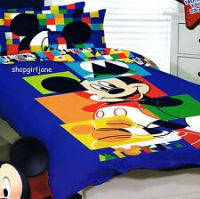 Mickey Mouse Disney - Puzzle - Single/US Twin Bed Quilt Doona Duvet Cover Set