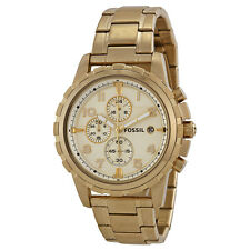 Fossil Dean Chronograph Champagne Dial Gold-tone Mens Watch FS4867