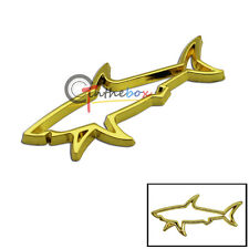 (1) 3D Golden Shark Hollow Metal Badge Sticker Emblem Auto Car Fender Boot Trunk