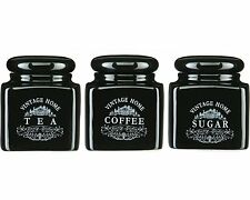 3 Piece Vintage Black Ceramic Tea Coffee Sugar Storage Jars Pots Canisters Set