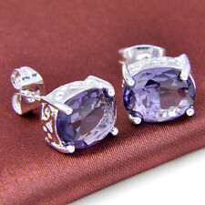 Water Drop Shaped Purple Amethyst Gemstone Silver Stud Earrings