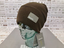 BENCH Fine Ribbed Beanie LOKUSS Logo Tab Cap Dk Khaki Acrylic Turn-up Hat BNWT