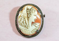 Antique/vintage French? solid silver carved shell cameo brooch & marcasites