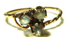VICTORIAN 10K YELLOW GOLD TWIST CABLE MOONSTONE BALL CLOVER SHAMROCK RING BAND