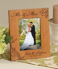 Personalized Laser Engraved Cherry Photo Frame, for 5x7 Photo, Wedding
