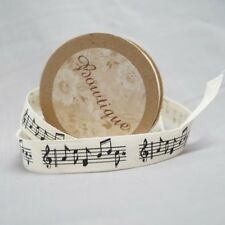 Bowtique Natural Cotton Musical Notes Ribbon 15mm x 5m Reel