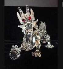1997 Swarovski SCS Crystal Dragon Red Eyes Figurine RETIRED - MINT With Stand