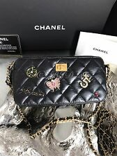 NWT CHANEL LUCKY CHARMS BLACK CALF REISSUE GOLD Double Zip WOC Bag Camera Case