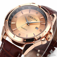 Cool Men's Vintage Golden Dial Date Quartz brown leather Watch Sport Wrist Watch