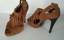N.Y.L.A. Fergie Fringe Suede High Heel Stilletos Size 10 M Brown
