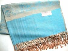NEW Pashmina Winter Scarf Scarves Silk Aqua Blue Beige Floral Paisley Shawl Wrap