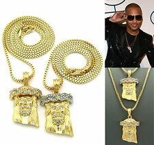 MENS NEW ICED OUT HIPHOP GOLD MICRO JESUS PENDANT BOX CHAIN NECKLACE SET OF 2