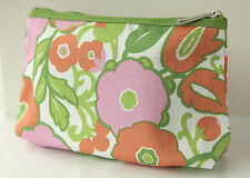 CLINIQUE LARGE GREEN WHITE PEACH & PINK MAKE UP BAG