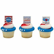 24 Patriotic Cupcake Ring Toppers/Favors PARTY SUPPLIES-NEW