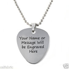 Custom Engraved Personalized Stainless Steel Guitar Pick Necklace Free Engraving