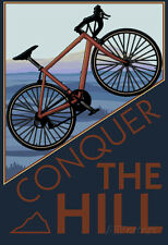 Conquer the Hill - Mountain Bike Poster Print, 13x19