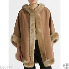 WOMEN CAMEL JOHN LEWIS FAUX FUR HOODED WINTER CAPE COAT PONCHO 1 SZ NEW RRP£140