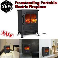 1500W Free Standing Electric Fireplace Stove Heater Fire Flame Logs Adjustable