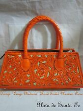 """Mexican Hand """"Cut Out"""" Tooled """" LARGO MEDIANO"""" Orange Leather Purse by QUE CHULA"""