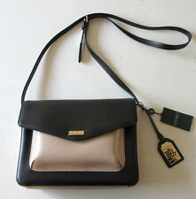 NWT Ralph Lauren Bramley Messenger Leather Crossbody Bag Black/Stone Beige $198
