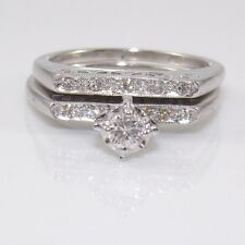 Vtg 18K White Gold 0.20ctw Diamond Wedding Engagement Band Ring Set Sz 5 ZD