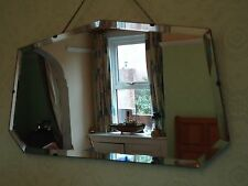 Vintage Large Frameless Bevelled Edge Wall Mirror Wooden Back Original Chains