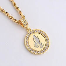 Gold Filled CZ Iced out Praying Hands Round Pendant Necklace Cross Bling Jewelry