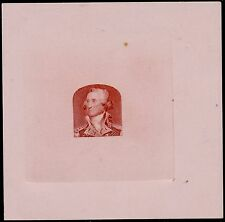 #72-E1b DIE ESSAY ON COLORED CARD RED BROWN, LIGHT PINK (SUPERB) BQ4818