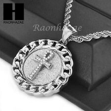 """MENS STAINLESS STEEL ANKH CROSS MEDALLION PENDANT 24"""" ROPE CHAIN NECKLACE NP014"""