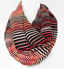 CALVIN KLEIN Scarf Rouge Loop Poly Chiffon Red Multi   NWT $38