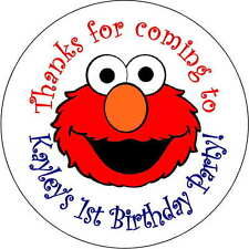 12 Elmo stickers Birthday Party loot bag 2.5 Inch Personalized